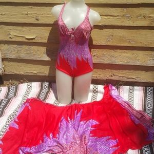 VTG 60s Sirena Swim Set One Pc CoverUp Red Fuchsia